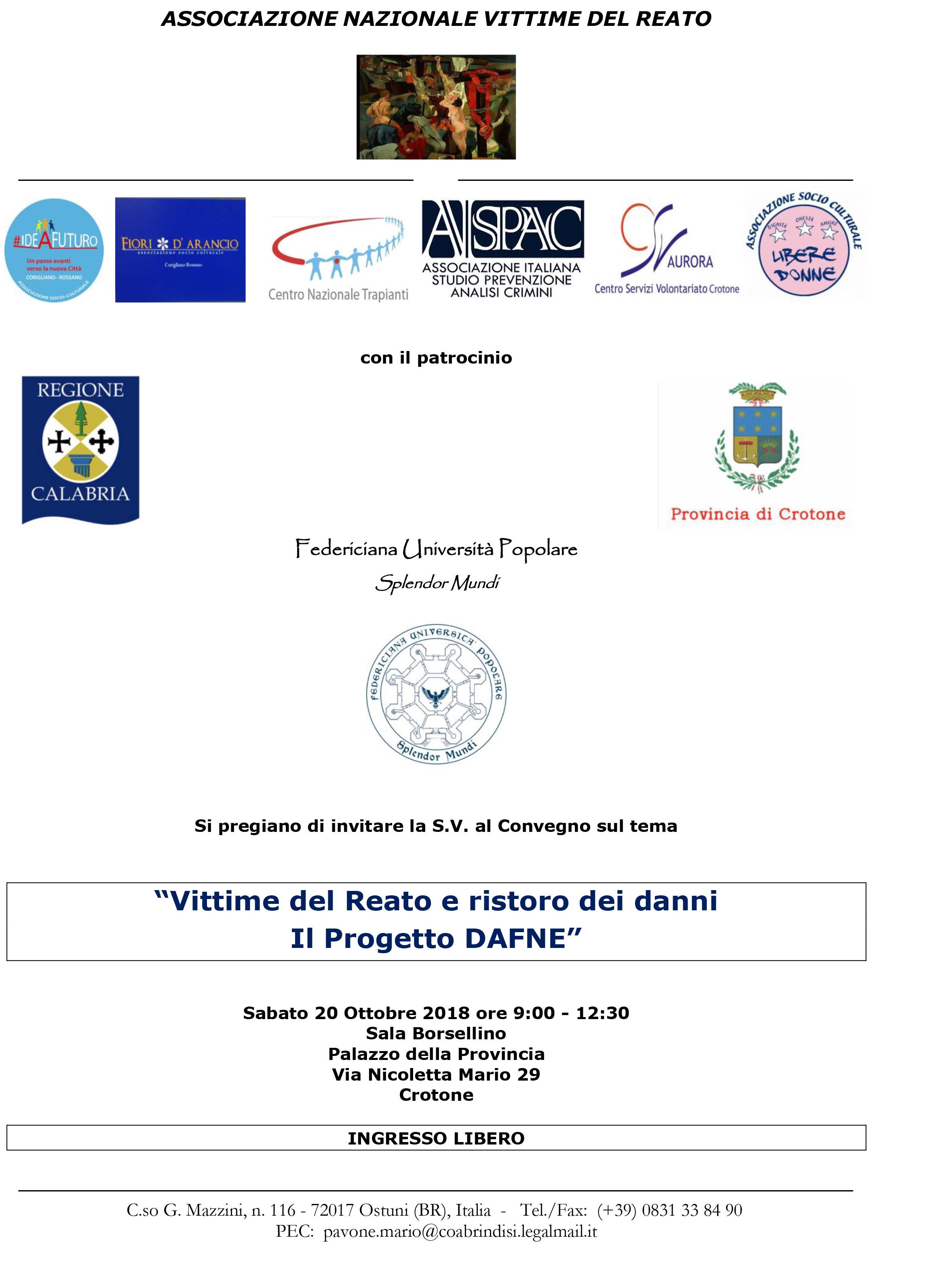 Convegno Vittime del reato e ristoro dei danni – Il Progetto Dafne | Crotone 20.10.2018