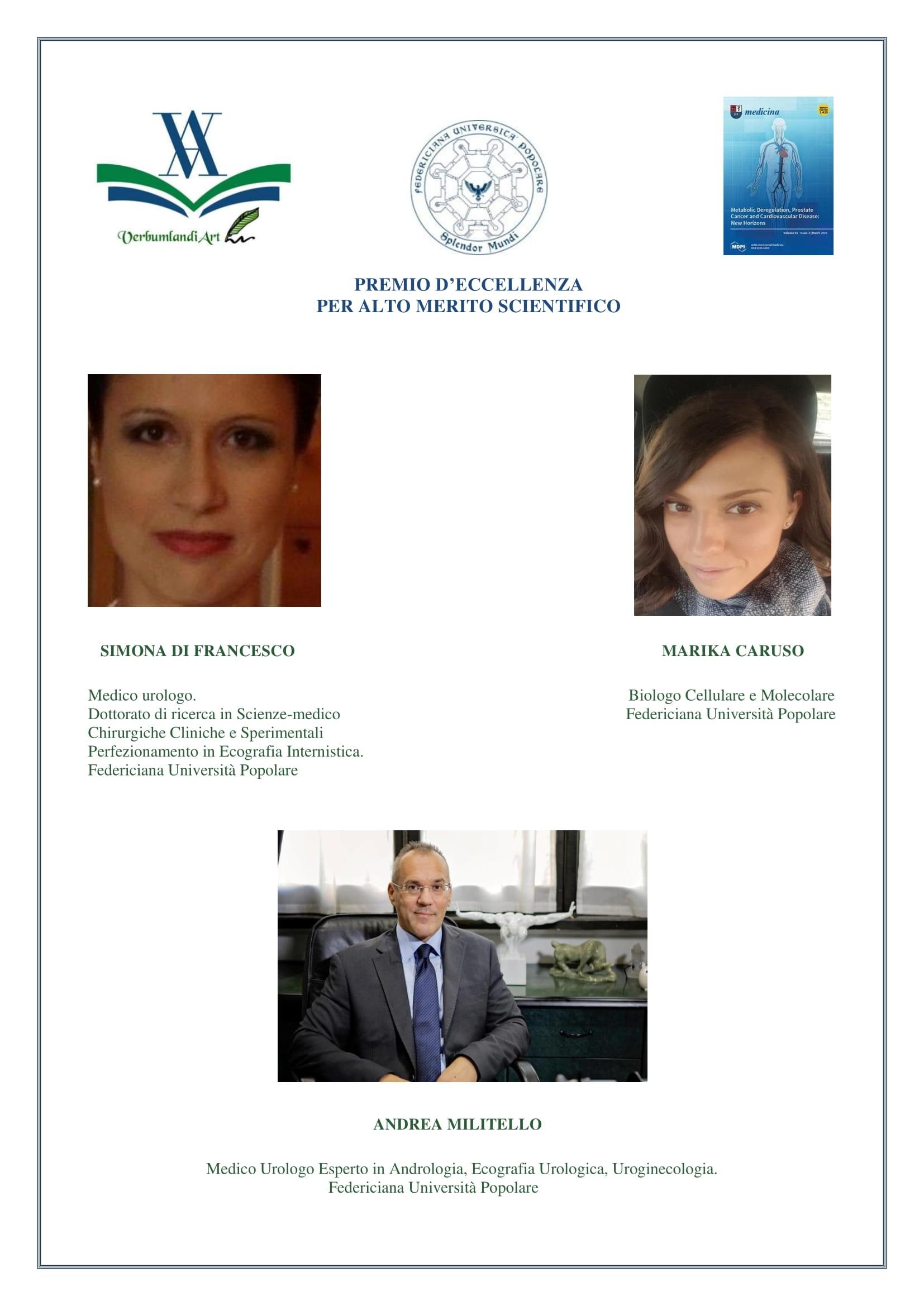 Premio d'Eccellenza per Alto Merito Scientifico | Roma 31.05.2019