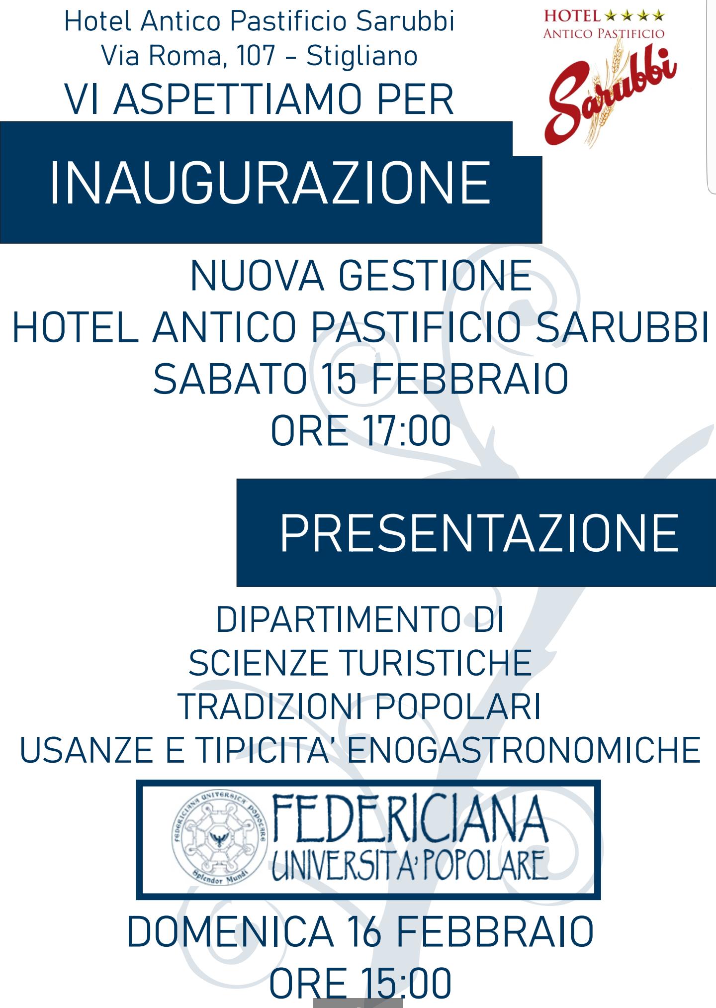 Presentazione Dipartimento di Scienze Turistiche, Tradizioni Popolari, Usanze e Tipicità Enogastronomiche | Stigliano (MT) 15.02.2020