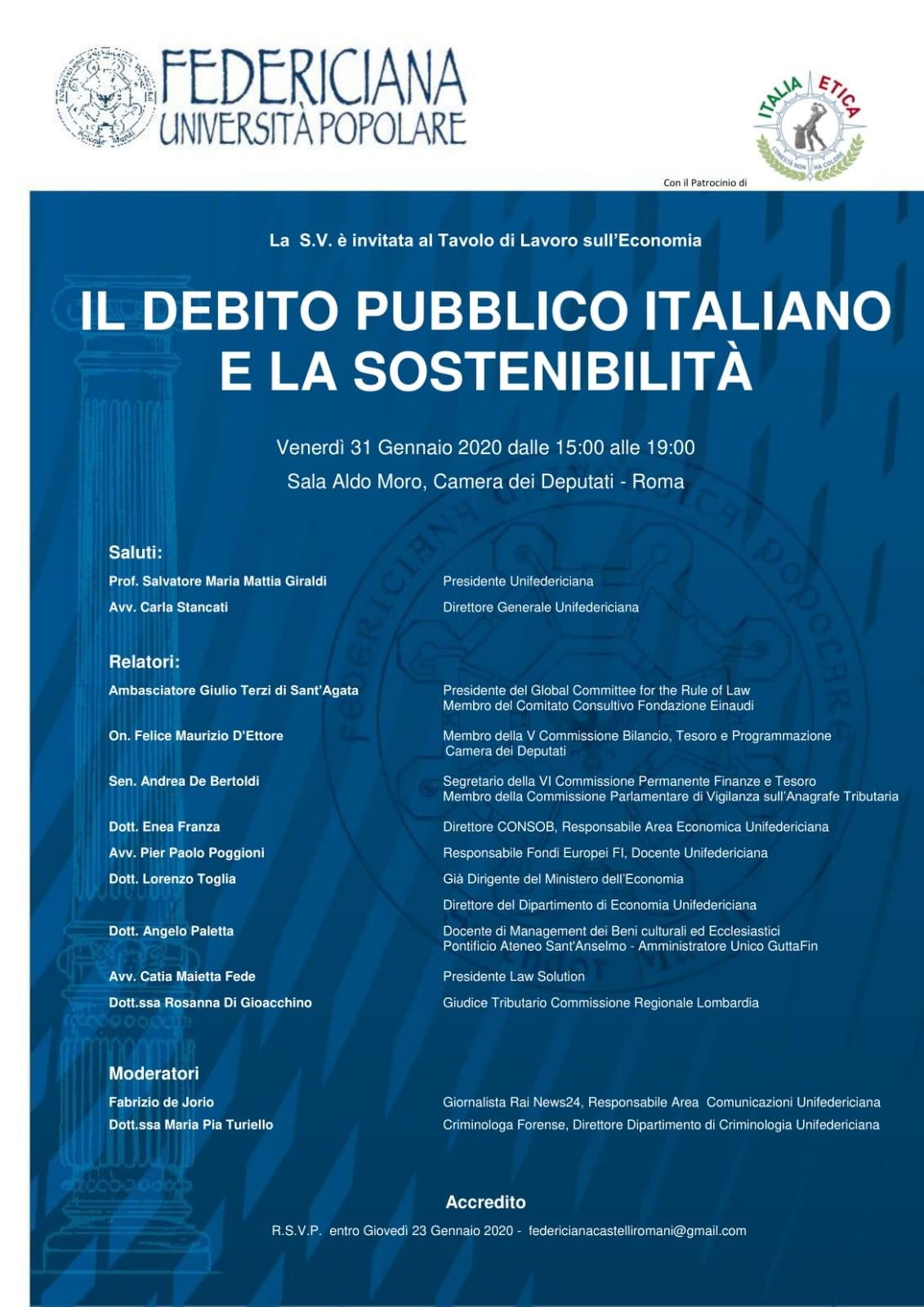 Il debito pubblico italiano e la sostenibilità | Roma 31.01.2020