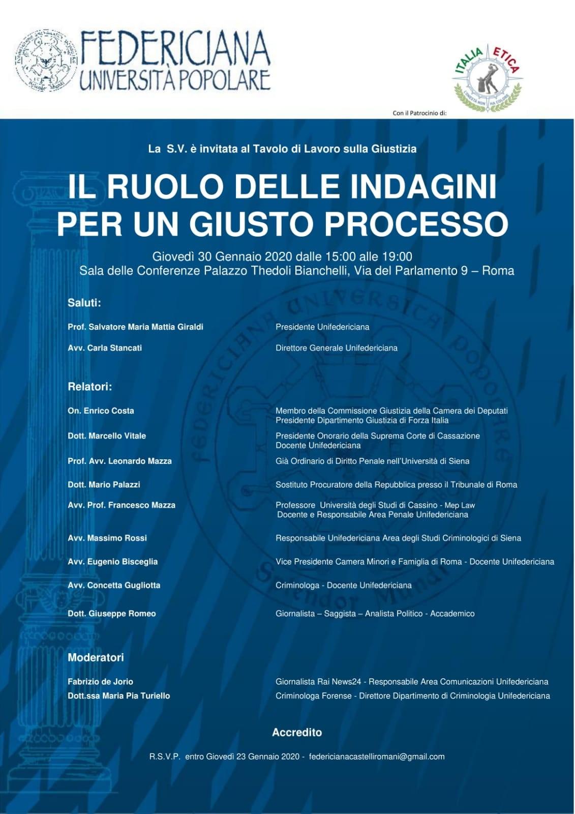 Il ruolo delle indagini per un giusto processo | Roma 30.01.2020