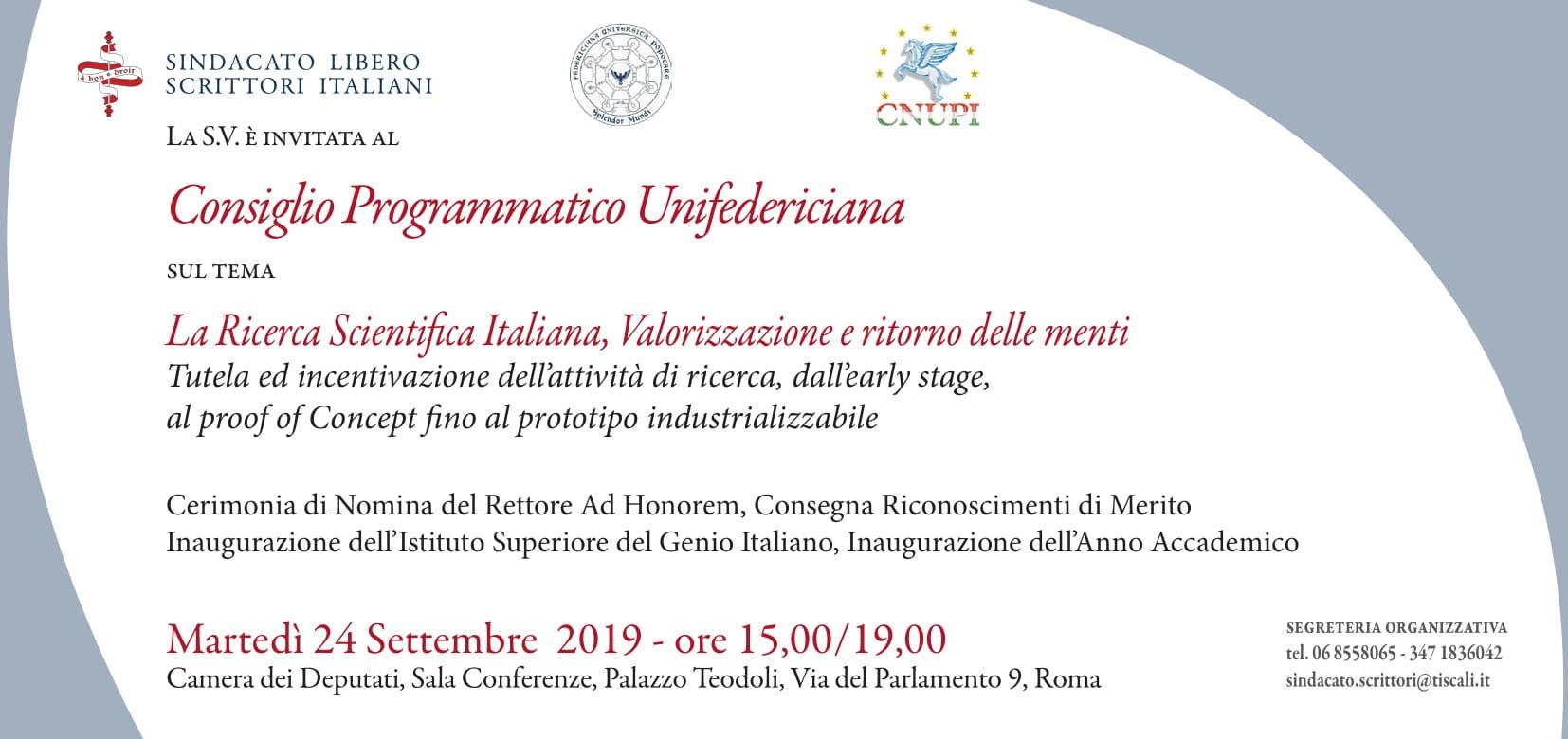 Consiglio Programmatico Unifedericiana – La Ricerca Scientifica Italiana, Valorizzazione e ritorno delle menti | Roma 24.09.2019